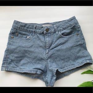 Abound Blue and White Striped Denim Shorts
